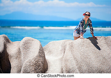 Woman on vacation in Seychelles