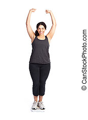 Woman on weight scale - An isolated shot of a happy woman...