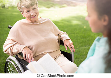 Woman on wheelchair