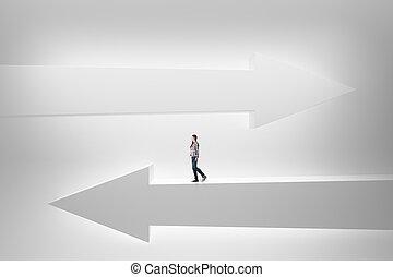 Woman on white arrows