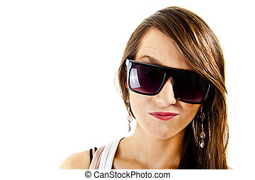 Woman on white background with sunglasses