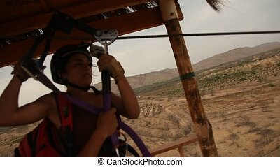 Woman On Zip-Line