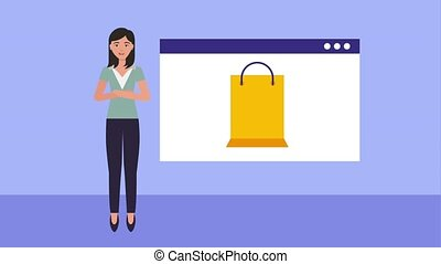 woman online shopping website gift bag animation hd