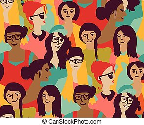 Woman only crowd group color seamless pattern