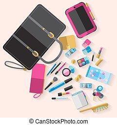 Woman open handbag content flat poster - Woman open handbag...