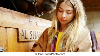 Woman open the horse stable door 4k - Close-up of woman open...