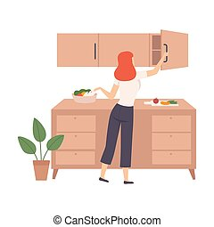 Woman open top drawer in the kitchen. Vector illustration.