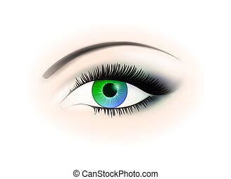woman opened eye - blue and green woman opened eye