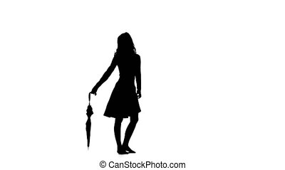 Woman opens an umbrella. White background. Silhouette -...