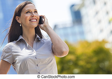 Woman or Businesswoman Talking on Cell Phone