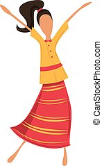 woman or hipster dancing in retro dress