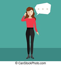 Woman or manager. woman in a suit talking on a cell phone with bubble