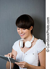 Woman ordering music over the internet