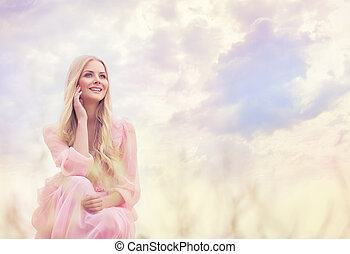 Woman Outdoor Portrait, Happy Girl over Sky Clouds, Smiling Fashion Model in Pink Dress