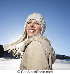 Woman outdoors in winter.
