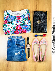 Woman Outfit   - Outfit of clothes and woman accessories
