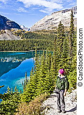 Woman Overlooks Lake O'hara of Yoho National Park
