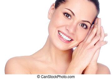 woman., pół, odizolowany, biała twarz