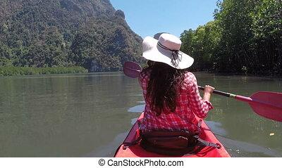 Woman Paddling Kayaking In Beautiful Lagoon Action Camera...