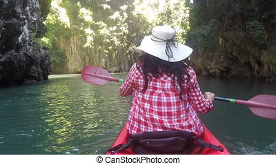 Woman Paddling On Kayak In Beautiful Lagoon Action Camera POV Girl Kayaking Back Rear View