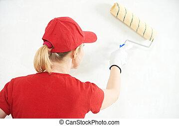woman painter at indoor work