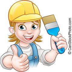 Woman Painter Decorator Cartoon Character