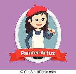 woman painter in emblem