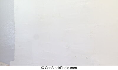 Woman painting a white wall