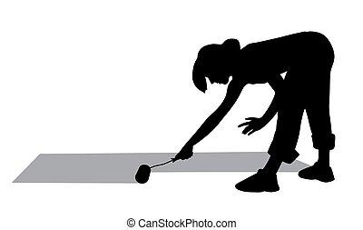Woman painting floor