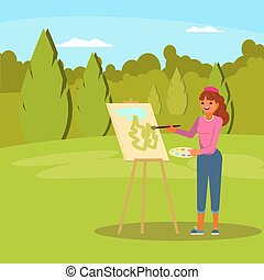 Woman painting green park vector flat illustration