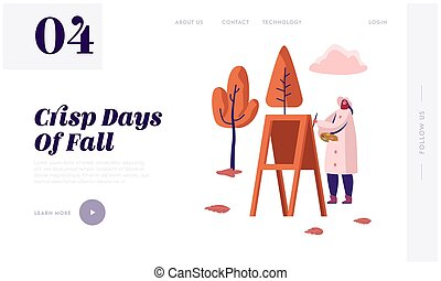 Woman Painting Outdoors on Plein Air Website Landing Page. Female Character Artist Drawing Autumn Landscape in Park with Colorful Trees and Leaves Web Page Banner. Cartoon Flat Vector Illustration