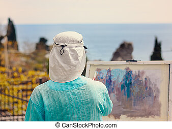 Woman Painting Scenic Outdoors