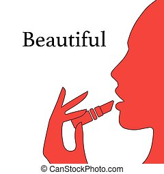 Woman paints her lips