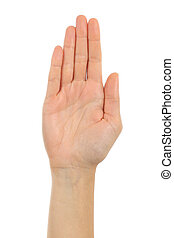 Woman palm hand in front