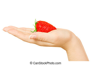 Woman palm with strawberry isolated