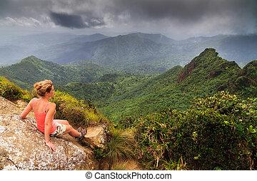 Woman panorama El Yunque