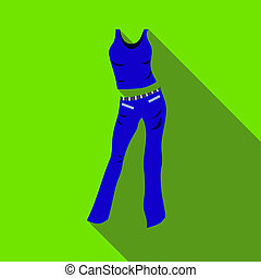 Woman pantsuit icon, flat style