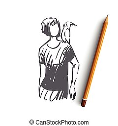 Woman, parrot, bird, animal concept. Hand drawn isolated vector.