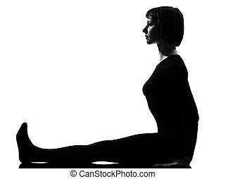 woman paschimottanasana yoga pose