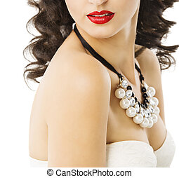 Woman Pearl Jewelry Necklace, Girl Red Lips