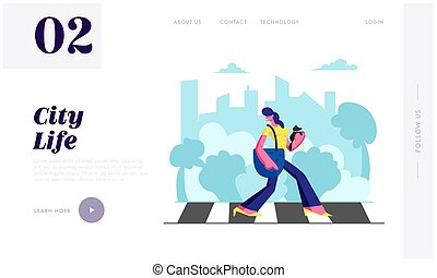 Woman Pedestrian with Dog in Hands Walking Crosswalk in Big Busy Metropolis, Girl City Dweller Lifestyle, Spare Time, Traffic. Website Landing Page, Web Page. Cartoon Flat Vector Illustration, Banner