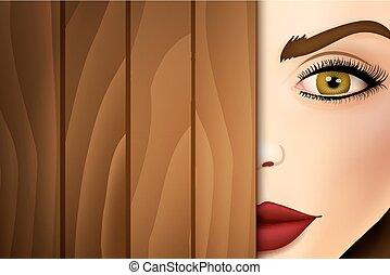 Woman peeking from wooden desk, face close up.