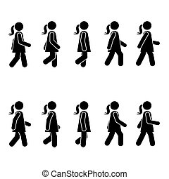 Woman people various walking position