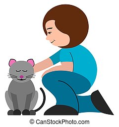 Woman Petting Cat - A flat vector cartoon woman is petting ...