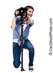 woman-photographer, 作り, 指すこと, ジェスチャー