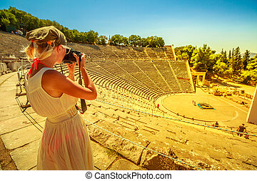 Woman photographer in Europe