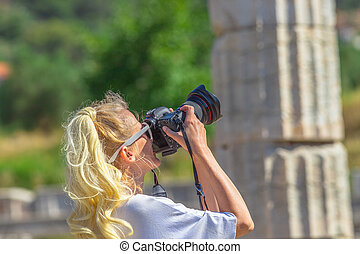 Woman photographer in Greece