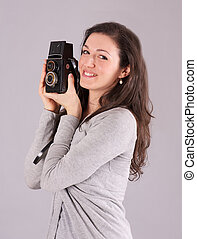 Woman Photographer with old Camera
