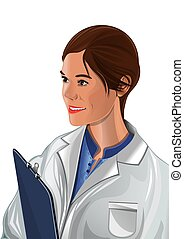 Woman physician in a white coat. Beautiful woman doctor. Cute young nurse holding clipboard in hands. Woman medic. Vector illustration