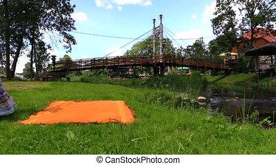 woman picnic near river